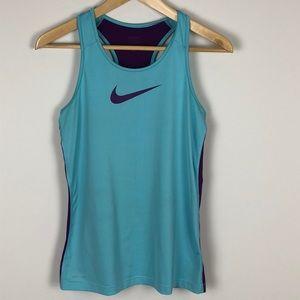 Nike Pro Tank Top in Teal/Purple - Size Large